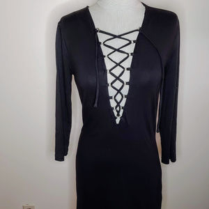 Forever 21 Lace-up/Tie Long Sleeve Black Dress